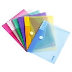 A5 folder with velcro closure, 6 folders in assorted colors