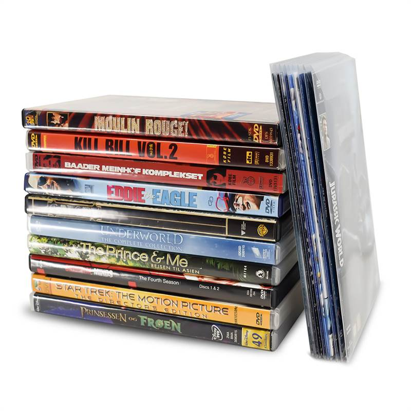 100 DVD sleeves for DVD storage - save 70% space